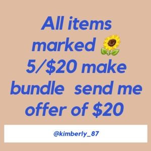 5/$20 Sales all items marked with sunflower 🌻